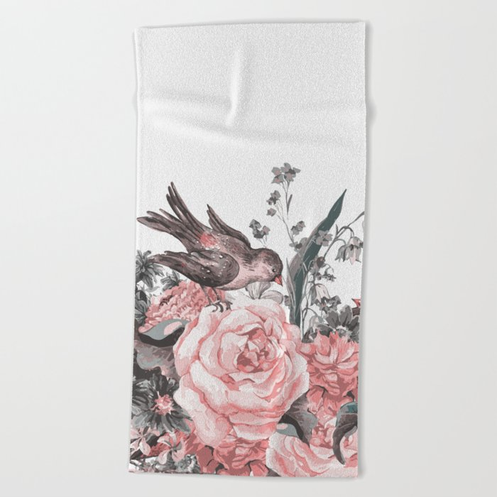 birds and flowers 2 Beach Towel