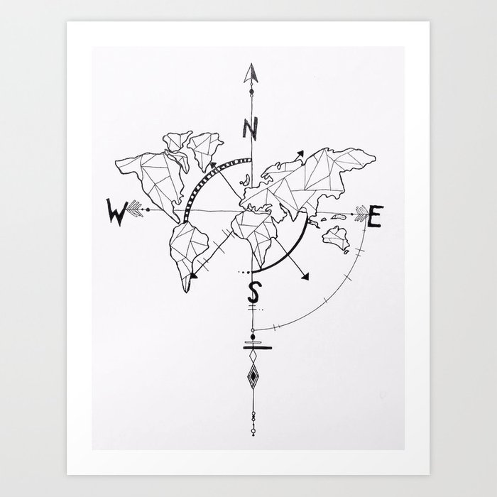 Atlas Compass Art Print By Papermachedreamsphotography