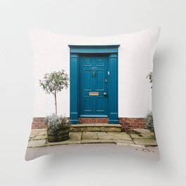 Blue door Throw Pillow