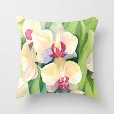 Cascading orchids Throw Pillow