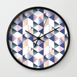 Watercolor geometric pastel colored seamless pattern Wall Clock