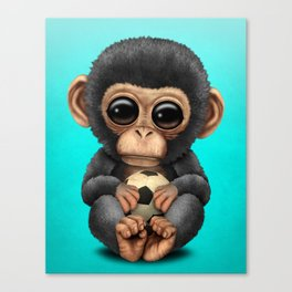Cute Baby Chimp With Football Soccer Ball Canvas Print