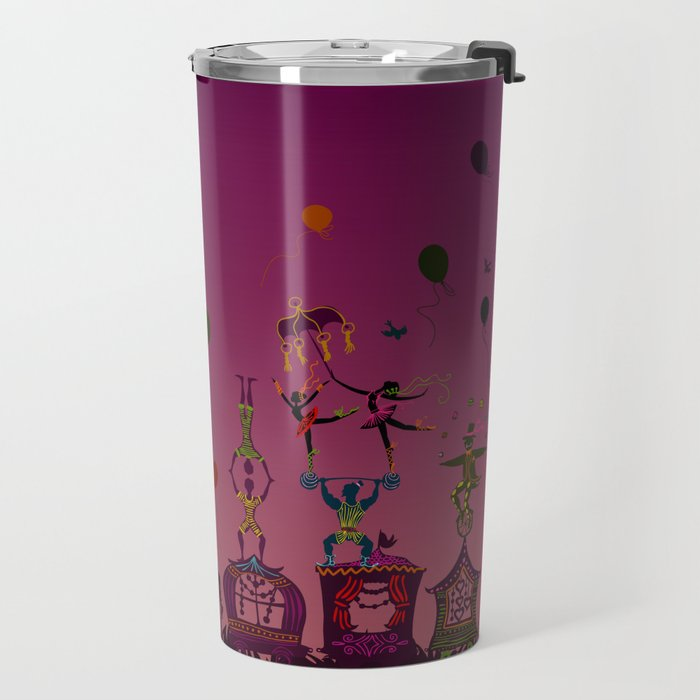 colorful circus carnival traveling in one row at night Travel Mug