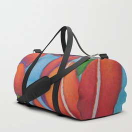 Botanical Painting with Reds and Blues Duffle Bag