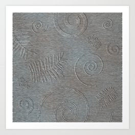 Graphic Grey Leaf and Spiral Shell Fossil Shapes Art Print