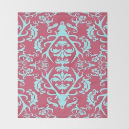 Stag Damask in Pink and Blue Throw Blanket