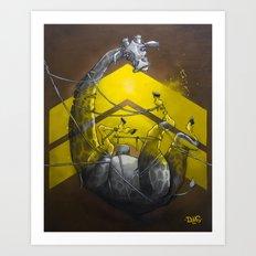 Giraffe up! Art Print