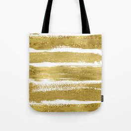 Gold Glitter Brushstrokes Tote Bag