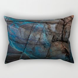 Deep Blue Marble - Ombre black Rectangular Pillow