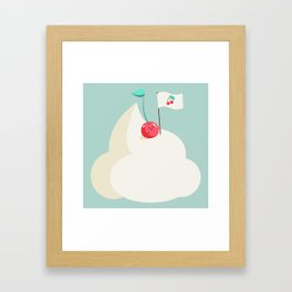 Cherry on top (of the whipped cream mountain) Framed Art Print