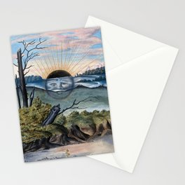 Black Sun Vintage Painting from Salomon Trismosin's Splendor Solis Stationery Cards
