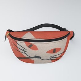 Retro White Cat Smoking a Pipe Fanny Pack