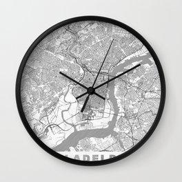Philadelphia Map Line Wall Clock