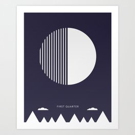 First Quarter Moon - Moon Phases Art Print