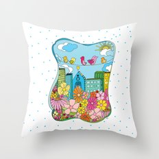 Birds In The City Throw Pillow