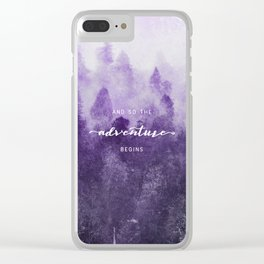 Ultra Violet Forest - And So The Adventure Begins Nature Photography Typography Clear iPhone Case