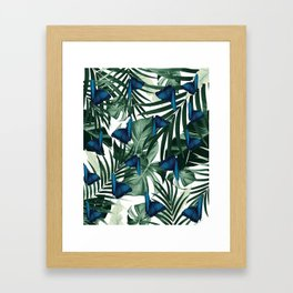 Tropical Butterfly Jungle Leaves Pattern #1 #tropical #decor #art #society6 Framed Art Print