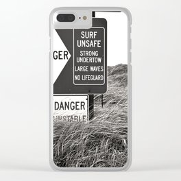 """Surf Unsafe, Strong Undertow"" Beach Access Sign Washington Coast, Pacific Northwest Clear iPhone Case"