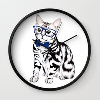 kitty Wall Clocks featuring Kitty by 13 Styx