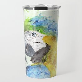 """Watercolor Painting of Picture """"Macaw"""" Travel Mug"""