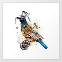 Steampunk Tui Bird  Art Print