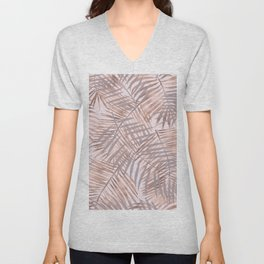 Shady rose gold palms Unisex V-Neck
