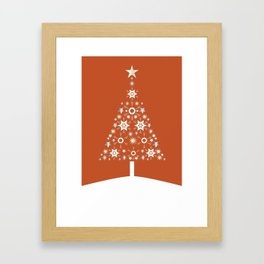 Christmas Tree Made Of Snowflakes On Orange Background  Framed Art Print