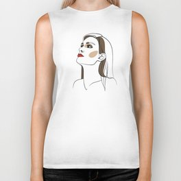 Woman with long hair and red lipstick. Abstract face. Fashion illustration Biker Tank