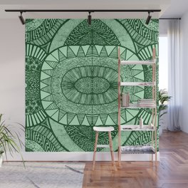 Grassy Green Tangled Mania Pattern Doodle Design Wall Mural