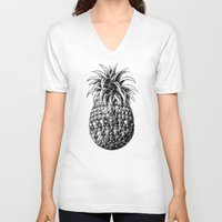 ornate V-neck T-shirts featuring Ornate Pineapple by BIOWORKZ