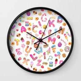 Watercolor Desserts Alphabet Pattern Wall Clock