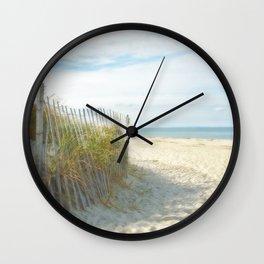 Sandy Beach, Ocean, and Dunes Wall Clock