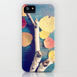 Autumn Birch Leaves and Twigs iPhone Case