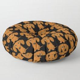 Cute Dachshund | Cartoon Wiener Dog Floor Pillow