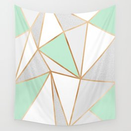 Mint Green, Grey & Gold Geo Wall Tapestry