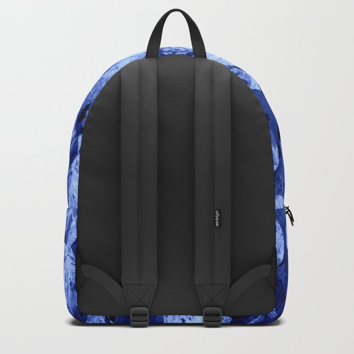 blue double floral Backpack