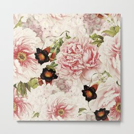Vintage Peony and Ipomea Pattern - Smelling Dreams by #UtART Metal Print