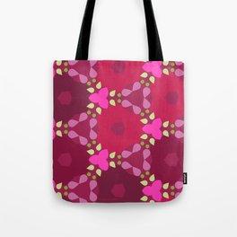 Kaleidoscope Flowers RedPink Tote Bag