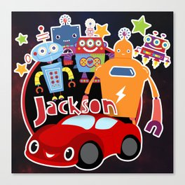 Jax-Red Car + Robots Canvas Print