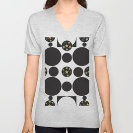 Exaggerated dots and circle with golden shining stars black and white pattern Unisex V-Neck