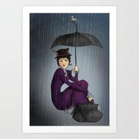 mary poppins Art Prints featuring Mary Poppins by CatAstrophe