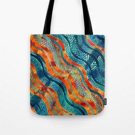 Wavy Tribal  Ethnic Boho Pattern Tote Bag