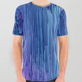 Beglitched Waterfall - Abstract Pixel Art All Over Graphic Tee