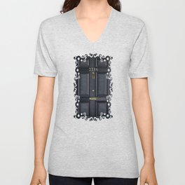 Haunted black door with 221b number Unisex V-Neck