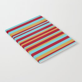 Golden, Red Wine and Turquoise Vintage Stripes Notebook