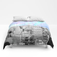 New York City. Pink Lavender Periwinkle Aqua Skies Comforters