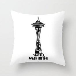 Seattle, Washington's Space Needle Throw Pillow