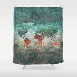 World Map Square Shower Curtain