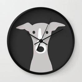 Cute Greyhound, Italian Greyhound or Whippet Cartoon Dog Wall Clock