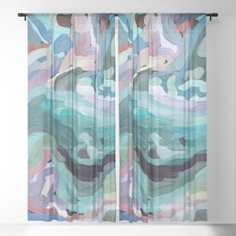 Abstract Digital Painting Design by Hxlxynxchxle Sheer Curtain
